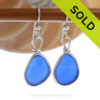 Lighter Perfect Cobalt Blue Genuine Sea Glass Earrings Solid Sterling Silver Original Wire Bezel©
