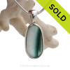 Cross Sectioned Teal Green English Art Sea Glass In Solid Sterling Silver Deluxe Wire Bezel©