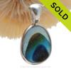 Twilight Rainbow-  RARE 5+ Color Seaham Multi Sea Glass Pendant In Original Wire Bezel Setting©
