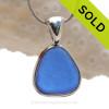 Medium Perfect Cobalt Blue Genuine Sea Glass In Deluxe Wire Bezel© Pendant in Silver