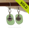 Bright Green Sea Glass Earrings W/ Solid Sterling Shell Charms
