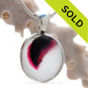 ULTRA RARE Mixed Hot Pink and Purple Multi Sea Glass Pendant In Deluxe Wire Bezel Setting©
