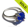 A stunning simple blue  sea glass ring perfect for any sea glass lover!