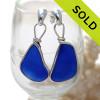 P-E-R-F-E-C-T Very Large Intense Cobalt Blue Sea Glass Earrings Silver Original Wire Bezel© On Posts