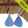 PERFECT and LARGE  Medium Blue Genuine Sea Glass Earrings Solid Sterling Silver Original Wire Bezel©