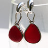 It is hard to capture the beauty of these perfect red sea glass earrings