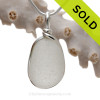 Large Thick Pure White Seaham Sea Glass In Original Sterling Silver Bezel© Pendant Necklace
