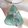P-E-R-F-E-C-T Aqua Green Sea Glass Sterling Waves© Signature Sterling Setting Pendant
