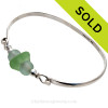 Yellowy Seafoam Green Sea Glass combined with two Seawater Green Recycled Glass Beads on this Solid Sterling Silver Premium Sea Glass Bangle Bracelet. SOLD - Sorry This Sea Glass Jewelry Item is NO LONGER AVAILABLE!