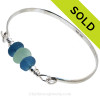Seafoam Green Sea Glass combined with two Seawater Green Recycled Glass Beads on this Solid Sterling Silver Sea Glass Bangle Bracelet. SOLD - Sorry This Sea Glass Jewelry Item is NO LONGER AVAILABLE!