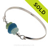 Seafoam  and Peridot Green Sea Glass combined with a Large Sky Blue Recycled Glass Beads on this Solid Sterling Silver Sea Glass Bangle Bracelet. SOLD - Sorry this Sea Glass Bangle Bracelet is NO LONGER AVAILABLE!