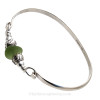 Vivid Bright Sea Green Sea Glass Sterling Bangle Bracelet W/ sea Life Beads