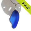 A VIVID Cobalt Blue sea glass set in our Original Deluxe Wire Bezel© necklace pendant.