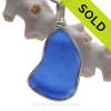 """MAD""  + ""IPS"" Embossed Cobalt Blue Embossed Genuine Sea Glass Pendant In S/S Original Wire Bezel© Pendant"