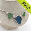 Stunning 3 Piece Genuine Sea Glass fine set Necklace. SOLD - Sorry This Sea Glass Jewelry Item is NO LONGER AVAILABLE!