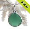 VIVID Deep Aqua Green Sea Glass In Original Silver Wire Bezel© Wire Pendant