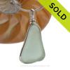 P-E-R-F-E-C-T Triangle of Seafoam Green Genuine Sea Glass Original Wire Bezel© Pendant in Sterling Silver