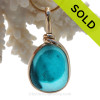 Petite Genuine Mixed Turquoise or Aqua Blue English Art Sea Glass In 14K G/F Original Wire Bezel©