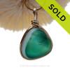 Genuine Tricolor English Art Sea Glass In 14K G/F Original Wire Bezel©