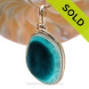 Genuine Mixed Deep Turquoise or Teal English Art Sea Glass In 14K G/F Original Wire Bezel©