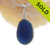 LARGE & P-E-R-F-E-C-T Deep Royal Blue English Sea Glass In Sterling Silver Wire Bezel© Necklace Pendant