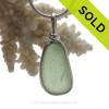 Long P-E-R-F-E-C-T Pale Peridot Genuine Sea Glass Pendant In Sterling Original Wire Bezel©