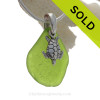 """Rare Chartreuse Green Sea Glass Necklace with Sterling Detailed Sea Turtle Charm and 18"""" STERLING CHAIN INCLUDED"""