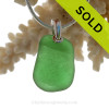 Simply Green Sea Glass Necklace On Sterling Bail - S/S SNAKE CHAIN INCLUDED