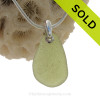 Simply Sea Glass Necklace in Peridot Green On Sterling Bail - S/S SNAKE CHAIN INCLUDED