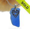 "Naturally Shaped Rare Cobalt Blue Sea Glass Necklace with Sterling Silver Heart  Charm and 18"" STERLING CHAIN INCLUDED"