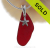 """Rare Ruby Red Sea Glass Necklace with Sterling Silver Sea Star Charm and 18"""" STERLING CHAIN INCLUDED"""