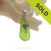 """Naturally shaped Petite Rare Lime or Chartreuse Glass Necklace with Sterling Silver Palm Tree Charm and 18"""" STERLING CHAIN INCLUDED"""