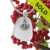 "Pure White Sea Glass With Sterling Silver Shell Charm - 18"" STERLING CHAIN INCLUDED"