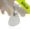 """Genuine White Sea Glass Necklace with Sterling Silver Sandollar  Charm and 18"""" STERLING CHAIN INCLUDED"""