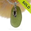 """Larger Seaweed Green Sea Glass Necklace with Sterling Silver Flip Flop Charm and 18"""" STERLING CHAIN INCLUDED"""
