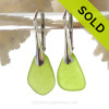 RARE Natural Beach Found Chartreuse or Lime Green Green Sea Glass Earrings On Silver Silver Leverbacks