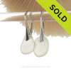 Genuine Beach Found Off White Sea Glass Earrings on Solid Sterling Leverbacks