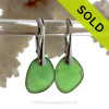 Stunning and Vivid Beach Found Green Sea Glass Earrings on Solid Sterling Silver Leverbacks. Simple and elegant with genuine sea glass pieces.