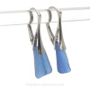 Simply Elegant -  Genuine Medium Blue Sea Glass Earrings on Solid Sterling Leverbacks