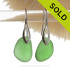 Thick Vivid Green Sea Glass Earrings on Solid Sterling Deco Hooks (DECO113)