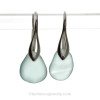 Thick Pale Perfect Aqua Blue Sea Glass Earrings on Solid Sterling Deco Hooks