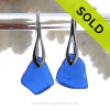 Natural Beach Found Blue Sea Glass Earrings on Solid Sterling Deco Hooks