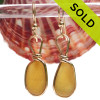 ULTRA RARE  -Warm Golden Yellow English Sea Glass Earrings In 14K Rolled Gold Wire Bezel©