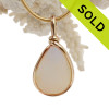 October Opal - Super RARE Opalized Sea Glass In 14K Goldiflled Bezel© Pendant