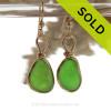 VIVID Lime Green Genuine Sea Glass Earrings In 14K Goldfilled Original Bezel Wire©