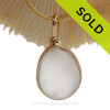 Naturally Beach Aged Pure White Sea Glass Pendant In 14K G/F Original Wire Bezel©