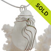 Large White Genuine Sea Glass Sterling Waves© Signature Sterling Setting Pendant