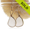 Larger White Genuine Sea Glass Earrings In Goldfilled Original Wire Bezel©