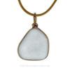Large Flat Carolina Blue Genuine Sea Glass Original Wire Bezel© Pendant in 14K Goldfilled