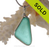 Angular Aquamarine Genuine Sea Glass Bottle Bottom Original Wire Bezel© Pendant in Sterling Silver
